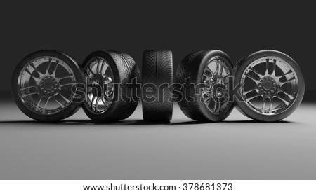 Car Wheels. Concept design. 3D render Illustration on Dark Background. - stock photo