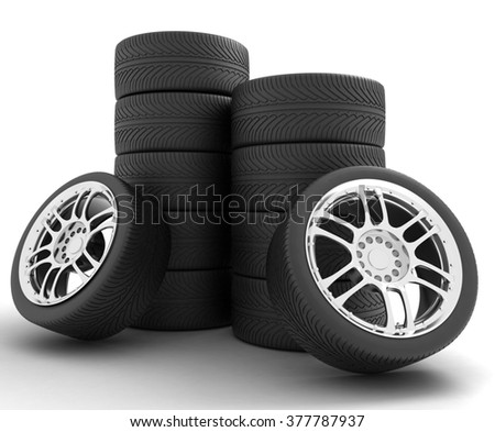 Car Wheels. Concept design. 3D render Illustration on White Background - stock photo