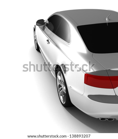 car white color on a white background. with shiny paint. design concept.  3d rendering  modern car,back view  - stock photo