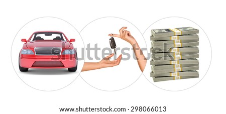 Car with hands and bundle of money on isolated white background - stock photo