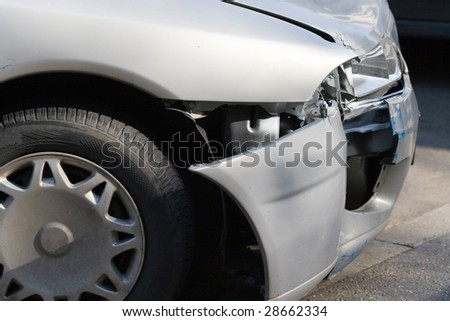 car wreck detail - stock photo