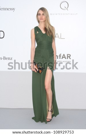 Cara Delevigne arriving for AmfAR's Cinema Against Aids gala 2012 during the 65th annual Cannes Film Festival Cannes, France - 24.05.12 Henry Harris - stock photo