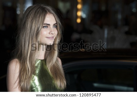 Cara Delevigne arriving for the British Fashion Awards 2012 at the Savoy Hotel, London. 27/11/2012 Picture by: Simon Burchell - stock photo