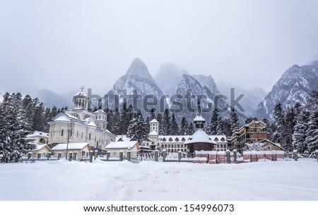 Caraiman Monastery in Bucegi Mountains, Romania, Europe - stock photo