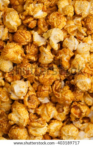 caramel pop corn background, closeup view - stock photo