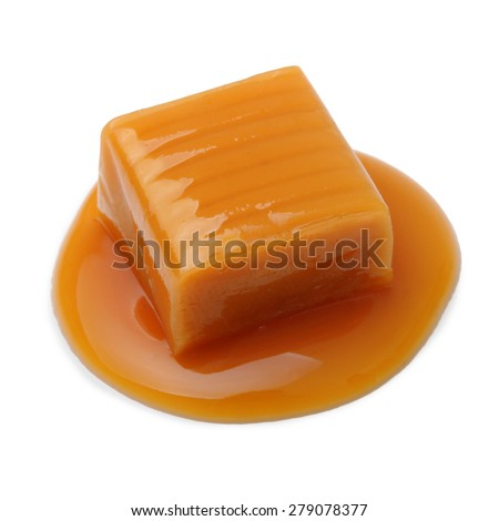 Caramel toffee and sauce isolated on a white background - stock photo