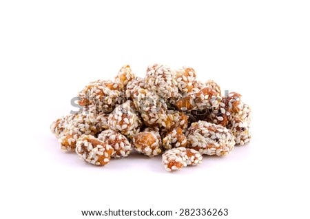Caramelized cashews isolated - stock photo