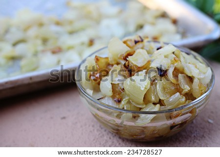 caramelized onions in a bowl - stock photo