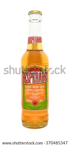 Caransebes, Romania - January 31, 2016: illustrative editorial shot of a Desperados beer bottle isolated on a white background - stock photo