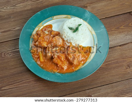 Carapulcra - Peruvian cuisine stew of pork and dehydrated potatoes, with peanuts - stock photo