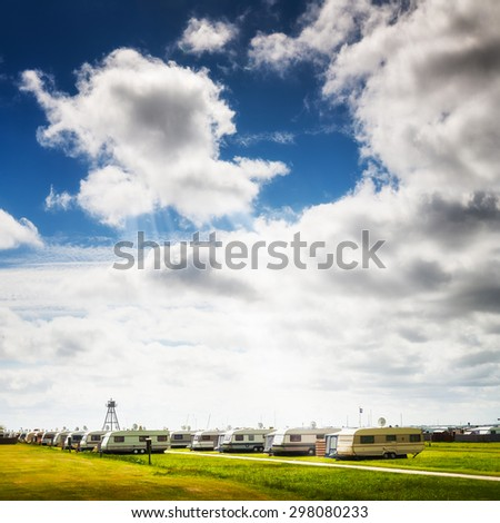 Caravan camping on the beach. Family vacation. North sea coast, Germany