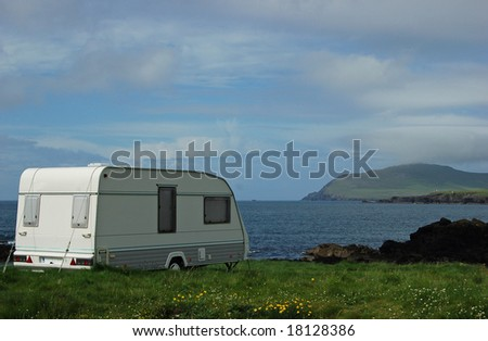 Caravan in Dingle Ireland with a beautiful view on the atlantic ocean - stock photo