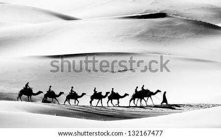 Caravan in Sahara Desert, Africa - stock photo