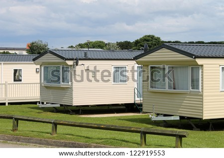 Caravan mobile homes in modern trailer park. - stock photo