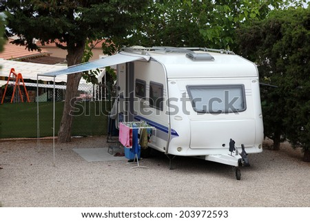 Caravan on a camping site in Spain - stock photo