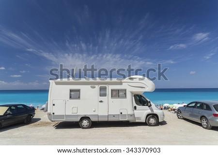 caravan sea, beach, summer holidays - travel in europe - stock photo