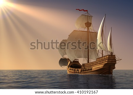 Caravel In Rays Of the Sun. 3D Illustration. - stock photo