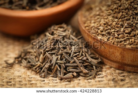 Caraway seeds with other spices - stock photo