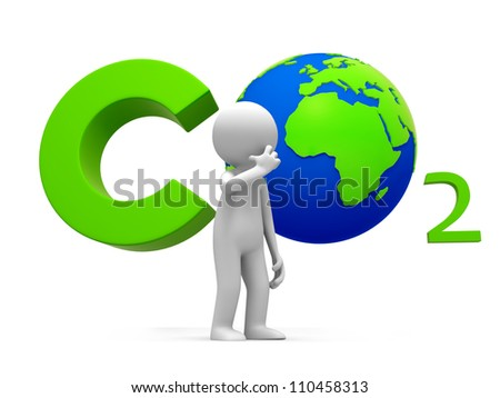 Carbon dioxide /earth/A people standing in front of the Carbon dioxide   symbol thingking - stock photo