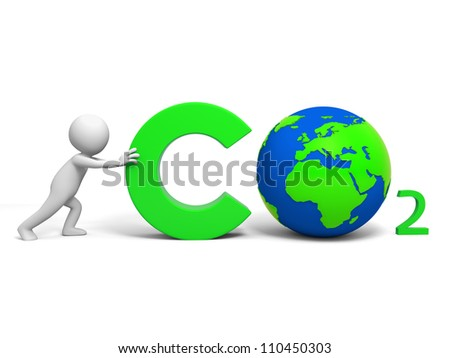 Carbon dioxide / Environmental protection /A people in pushing the Carbon dioxide   symbol - stock photo