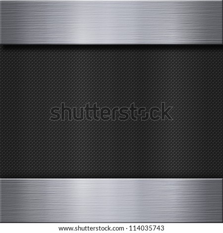 Carbon fiber texture and aluminum metal plate background - stock photo
