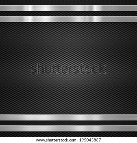 Carbon fibre with metal bars  background or texture - stock photo