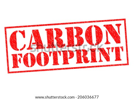 CARBON FOOTPRINT red Rubber Stamp over a white background. - stock photo