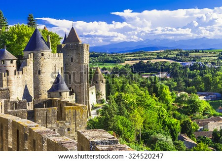 Carcassonne - impressive town-fortress in France - stock photo