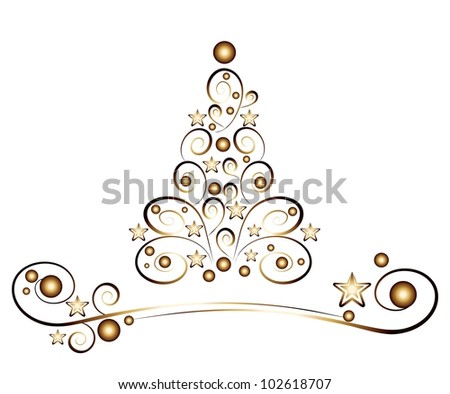 card christmas tree, golden ornaments on white background - stock photo