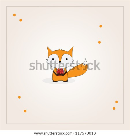 Card design with fox holding a gift - stock photo