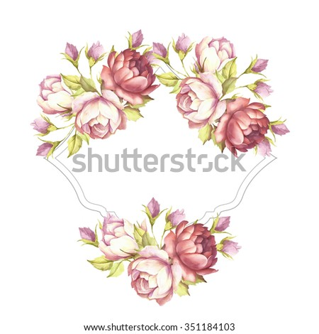 Card embellished with roses.Watercolor illustration - stock photo