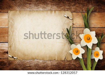Card for invitation or congratulation with bouquet of flowers narcissus - stock photo
