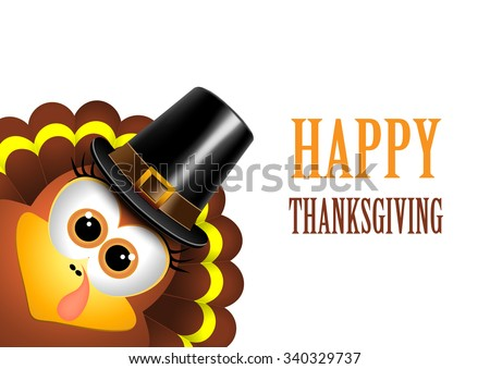 Card for Thanksgiving Day. Turkey in a pilgrim hat. - stock photo