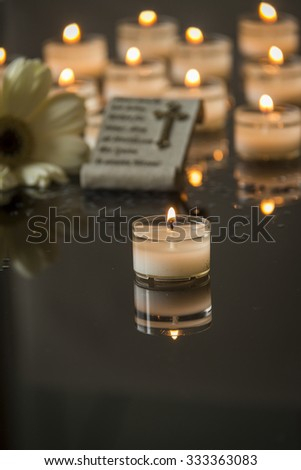 card funeral black backround memorial candlelight - stock photo