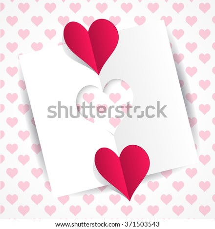 Card heart-shaped cutting and two origami hearts - Valentines day card on a gentle background with hearts pattern. Valentine's day greeting card with cut paper heart. Raster illustration - stock photo