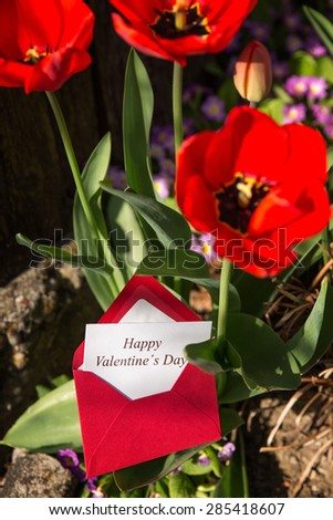 Card in envelope saying Happy Valentine's Day - stock photo