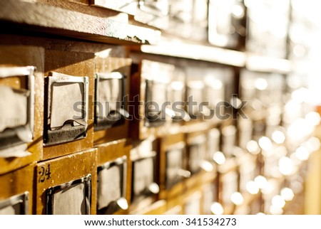 card index with cards in a library - stock photo