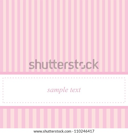 Card invitation template for baby shower, wedding or birthday party with sweet baby pink stripes. Cute background with white space to put your own text. - stock photo