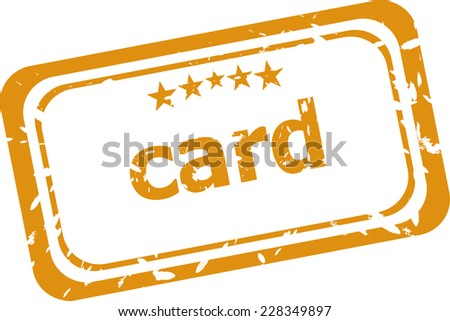 card on rubber stamp over a white background - stock photo