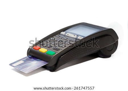 Card reader with plastic card cashless payments - stock photo