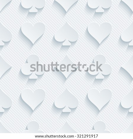 Card suit 3d seamless background. Light perforated paper pattern with cut out effect.  - stock photo