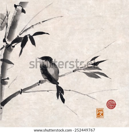 Card with bamboo and bird on vintage rice paper. Hand-drawn with ink. Traditional Japanese painting  - stock photo