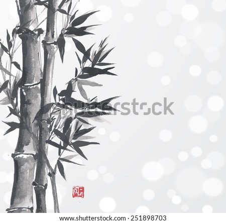 Card with bamboo in sumi-e style. Hand-drawn with ink. Traditional Japanese painting.  - stock photo