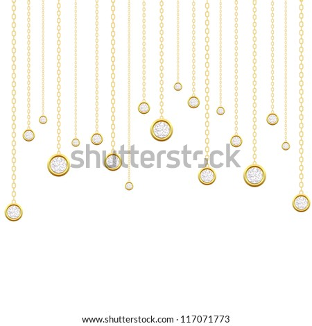 Card with brilliants on a white background - stock photo