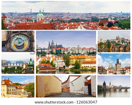 Card with day views of Prague - stock photo