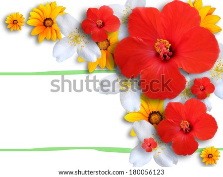 Card with flowers - stock photo
