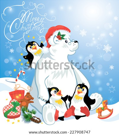 Card with funny penguins and polar bear with presents on blue snow background, cartoons for winter, Christmas or New Year design. Hand written text Merry Christmas. Raster version - stock photo