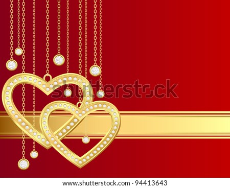 Card with golden heart and brilliants on a red background - stock photo