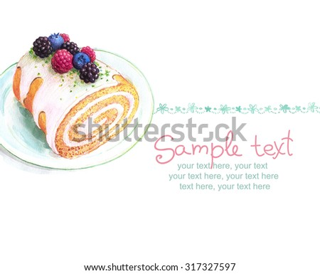card with painted watercolor sponge roll with berries. - stock photo