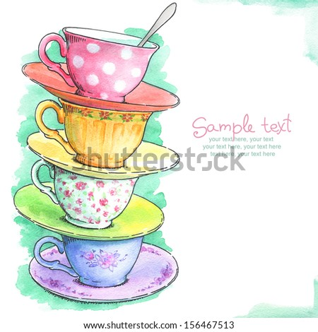 card with painted watercolor tea cups - stock photo